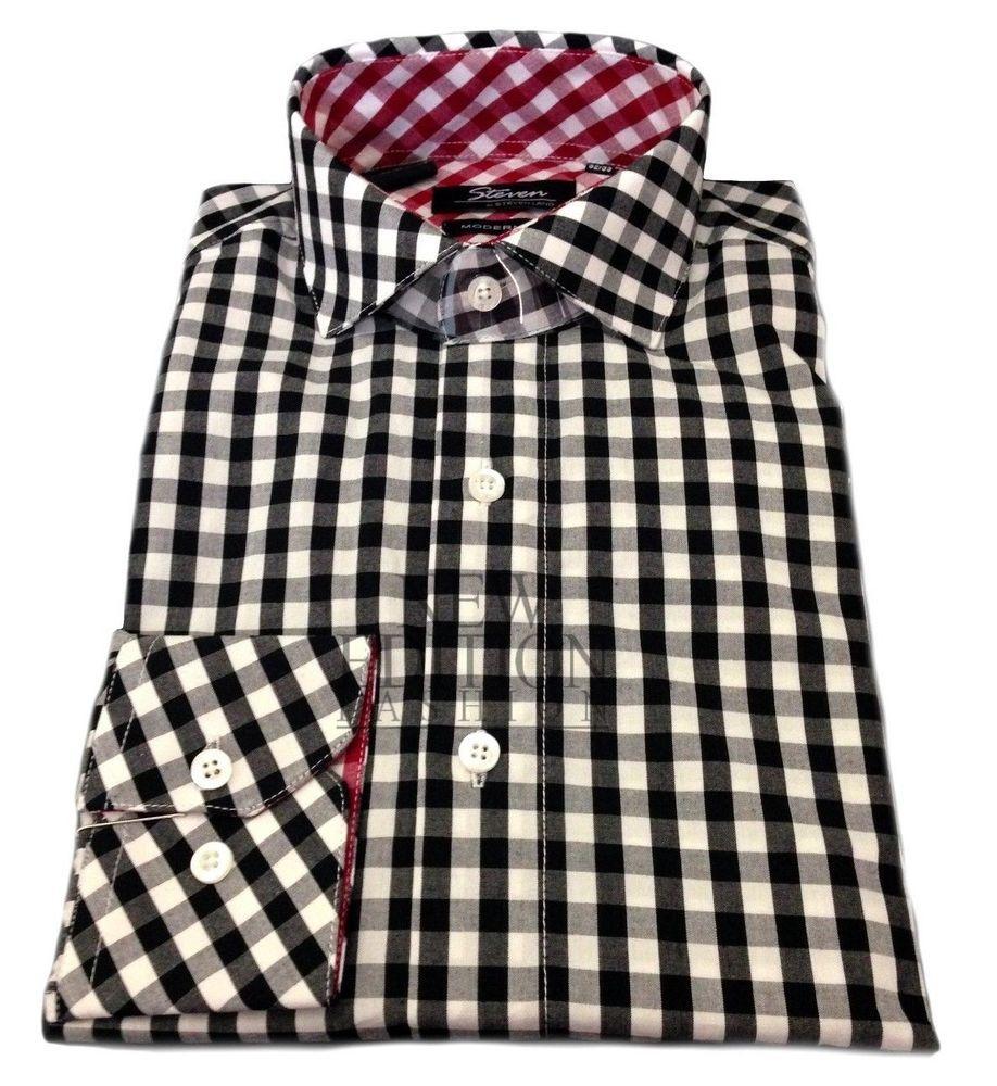 Steven Land Men/'s Trim Fit French Cuff 100/% Cotton Dress Shirt TA713 White//Black