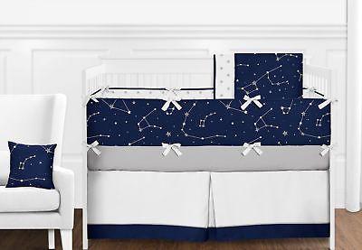 Navy Blue Grey White Constellation Moon Stars Space Baby Boy Crib Bedding Set Baby Boy Crib Bedding Sets Star Themed Nursery Boys Crib