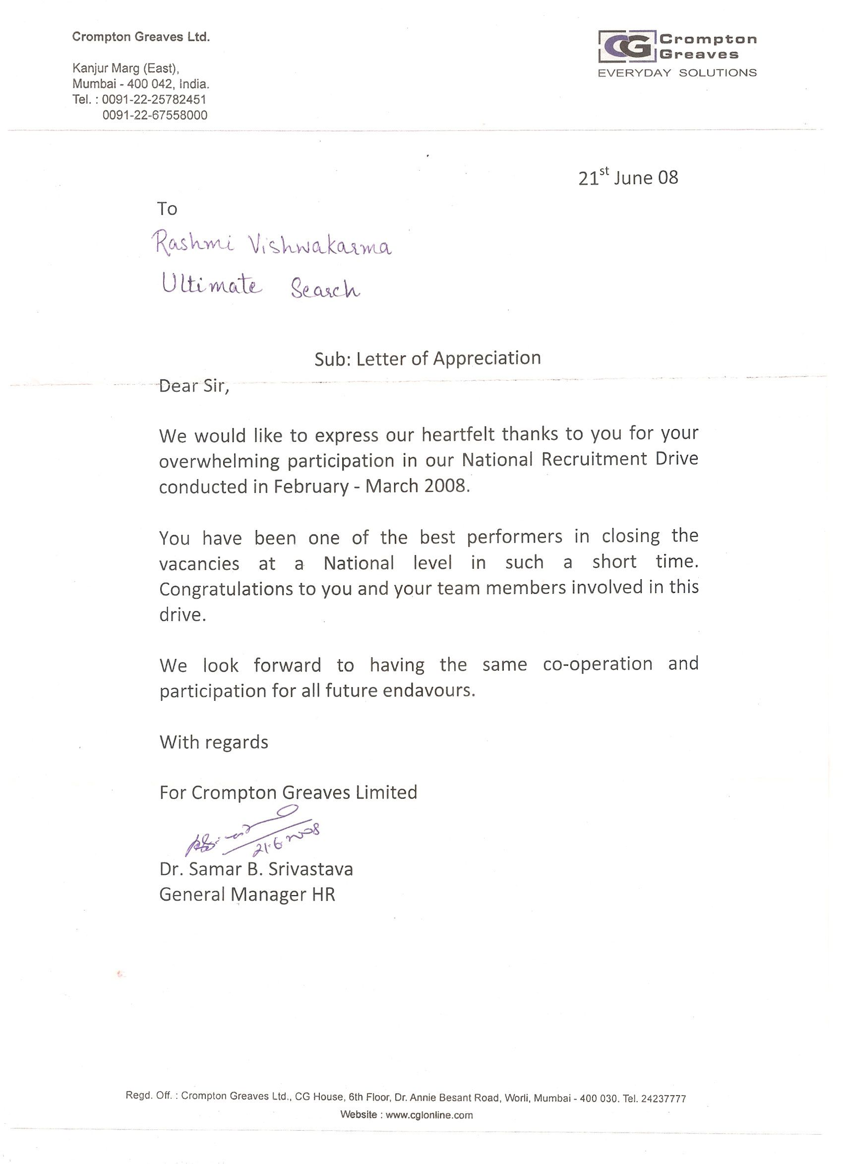 Letter Appreciation From Crompton Greaves For Good Performance