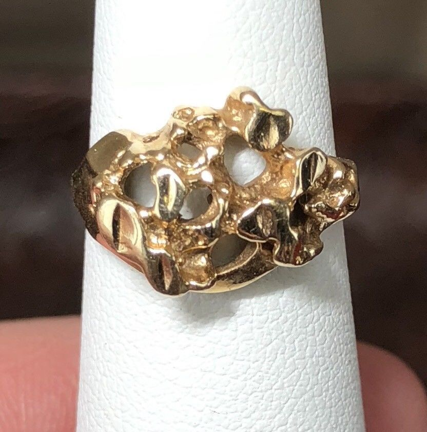 14k Gold Nugget Ring Small Sz 3 50 Pinky Size Rd11 Jw332 Gold Nugget Ring Gold Nugget Gold