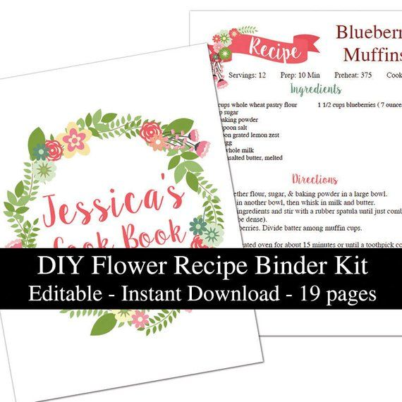 IMPROVED Flowers Editable Recipe Page Book Binder Kit
