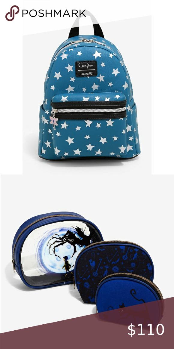 Loungefly Coraline Backpack And Makeup Bag Set In 2020 Bags Makeup Bag Bag Set