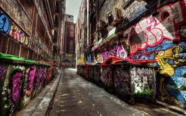 Download wallpapers graffiti, street, 4k, hdr, trash
