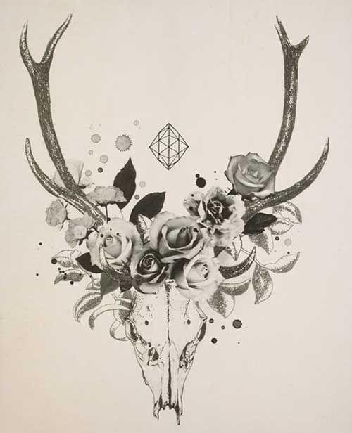 Geometric Deer Flower Tattoo Images Jpg 500 616 Antler Tattoos Deer Skull Tattoos Tattoo Goat