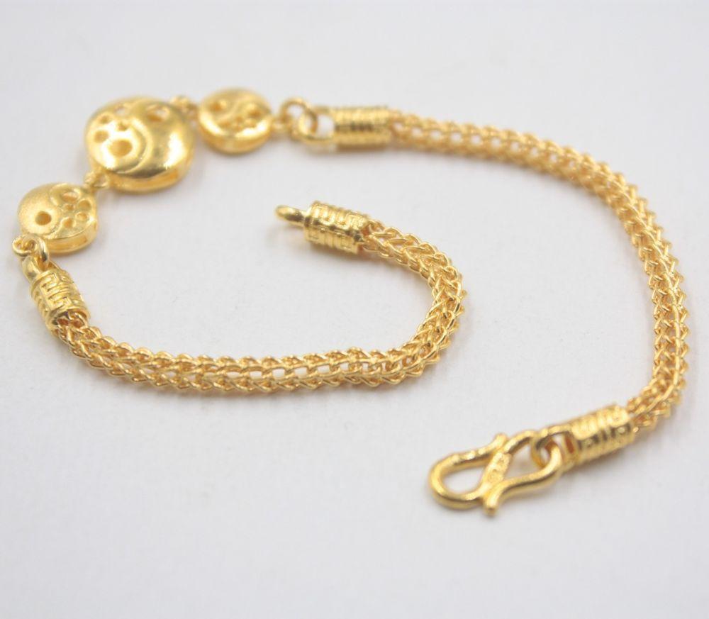 New pure k yellow gold bracelet wheat link elegant womanus chain