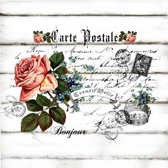Fran ais vintage carte postale rose grande a4 t l charger for Tissu shabby chic