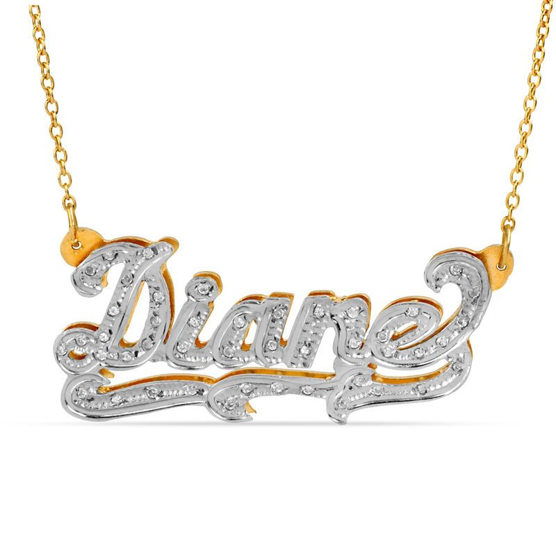 1 10 Ct T W Diamond And Textured Scroll Name Necklace In 10k Gold With White Rhodium 1 Line Zales Diamond Cross Necklaces Evil Eye Necklace Gold Diamond Choker Necklace