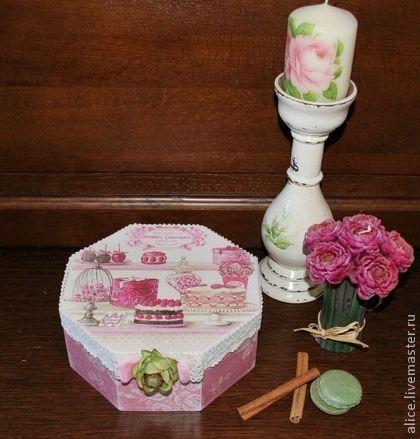 """Koszyki, pudełka wykonane ręcznie.  Targi Masters - handmade """"malinowy sorbet"""" schkatulka.  Handmade."""