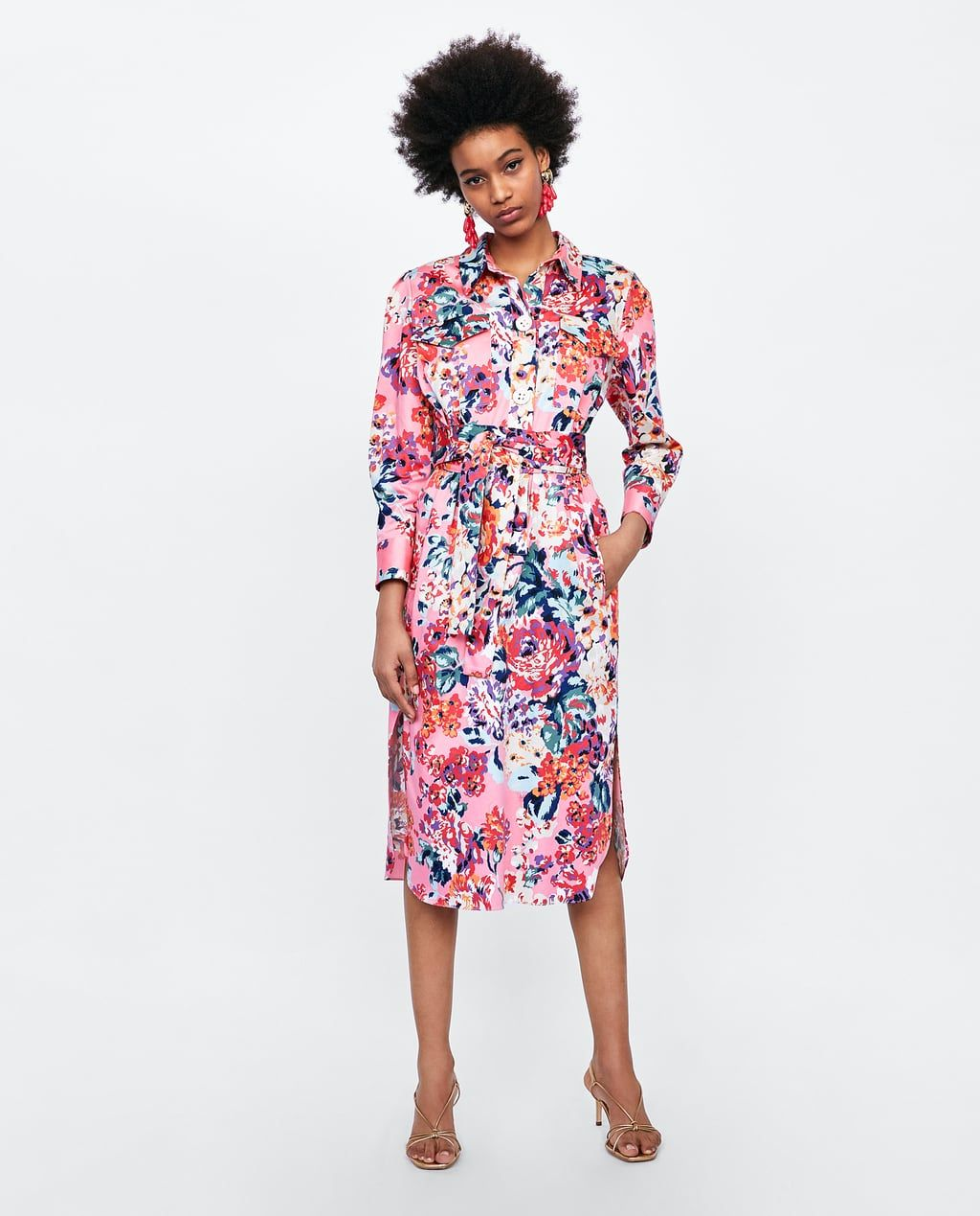 Vestido Camisero Estampado Floral Printed Shirt Dress Dresses Floral Print Shirt