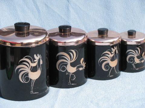 Marvelous 50s Vintage Ransburg Roosters Kitchen Canister Set, Black U0026 Copper Pink #1  My Kitchen