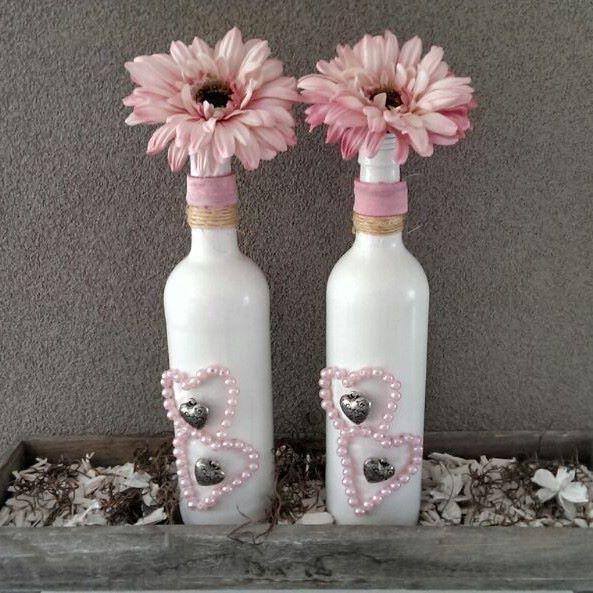 Gepimpte wijnflessen heel leuk als vaas of decoratie op for Decoratie fles