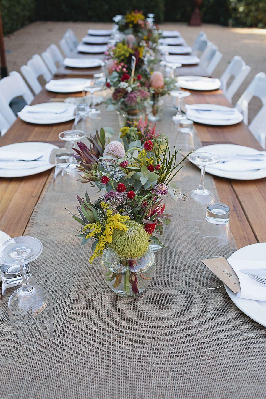 Diy Victoria Wedding At Euroa Butter Factory Wedding Table Flowers Wedding Table Decorations Diy Australian Christmas