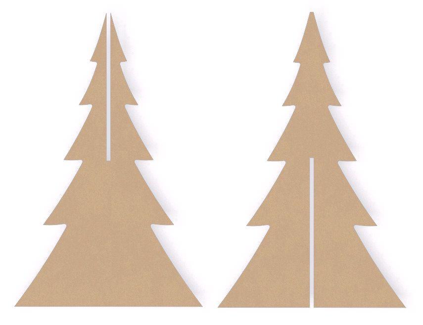 Three sets of 12 inch tall interlocking standing wooden christmas
