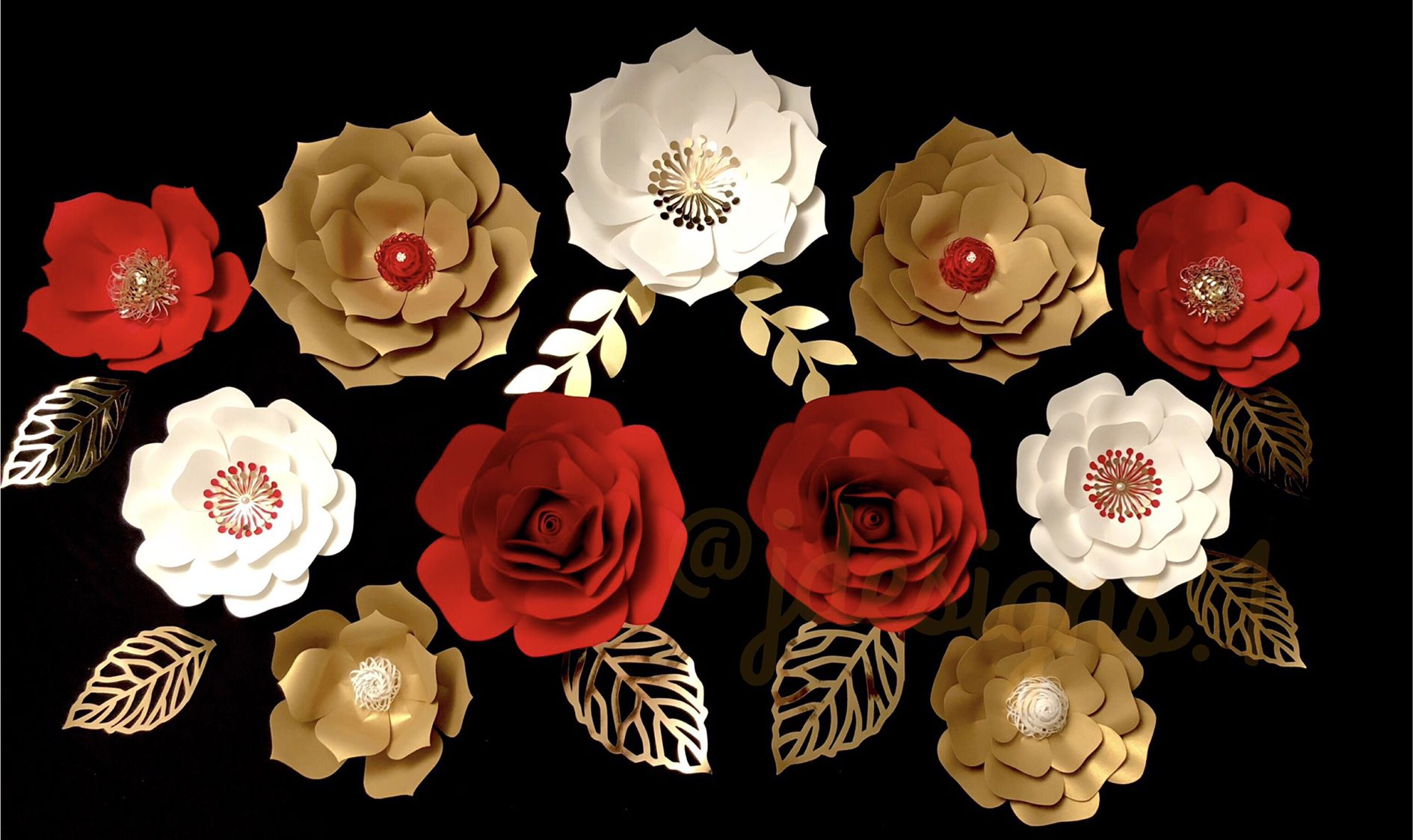 Wedding Backdrop Paper Flowers Gold Red White Paper Flowers Flores