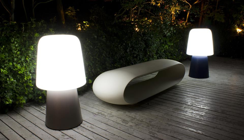 Serralunga outdoor design and plastic furniture illuminated pots and big vases garden lights design made in italy