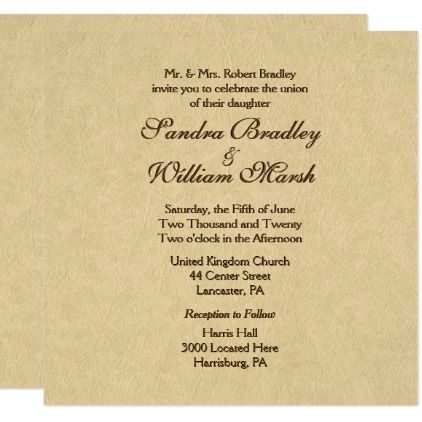 Elegant Leather Look Wedding Invitation Zazzle Com