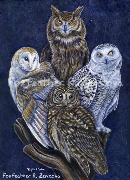 Totem Owls Painting Print Wall Art Bird Stack Barn Owl Barred