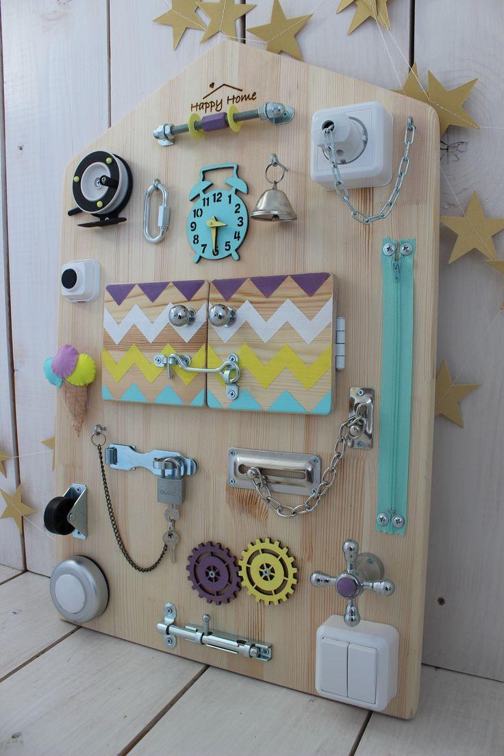 Montessori Activity Board Toddler Latch Board Busy Board Baby Toddler Preschool Sensory Activities Baby 1 st Birthday #babykidclothesandideas