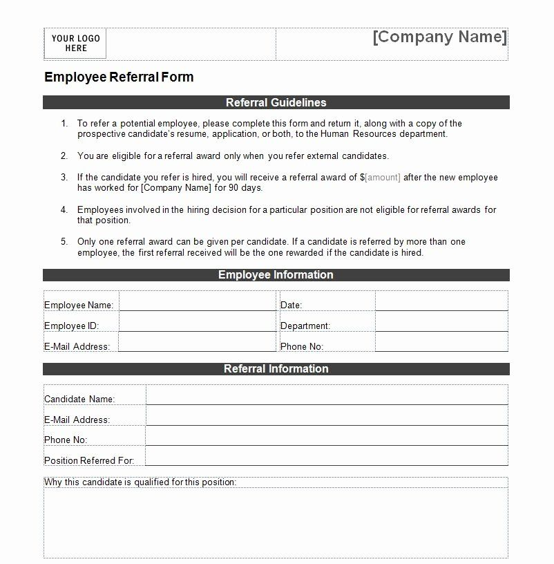 Referral Form Template Word Unique Employee Referral Form Cover Letter Template Free Lesson Plan Outline Templates