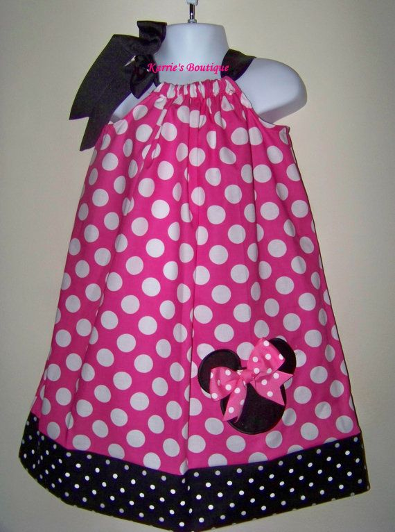 Minnie Mouse Pillowcase Dress ~ Pink Polka Dots \u0026 Black \u0026 White Dots ~ Custom Boutique & Minnie Mouse Pillowcase Dress ~ Pink Polka Dots \u0026 Black \u0026 White ... pillowsntoast.com