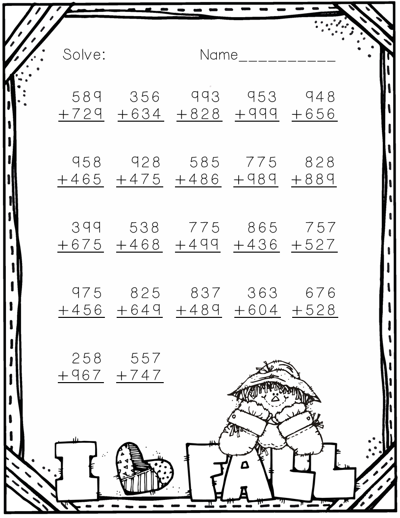 3.NBT.2 Fall Themed 3-Digit Addition with Regrouping in 2018 | TpT ...