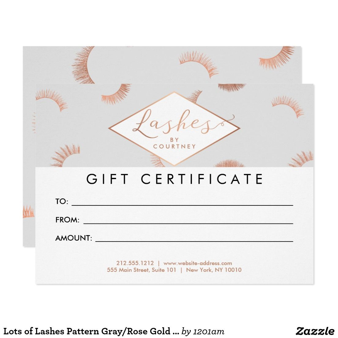 lots of lashes pattern gray rose gold gift card gray gift cards lash extensions salon gray rose gold customizable gift certificate cards