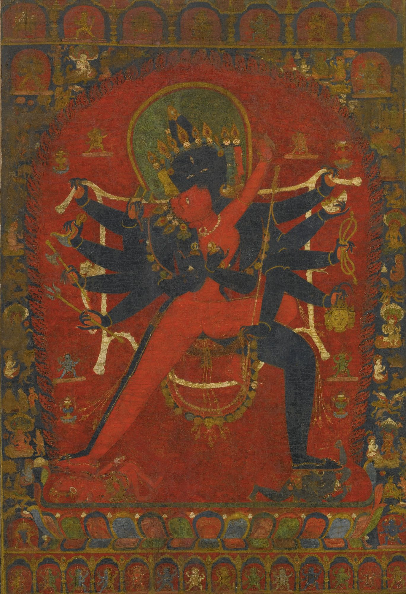 A Thangka Depicting Chakrasamvara And Vajravarahi Nepal, 15Th Century -