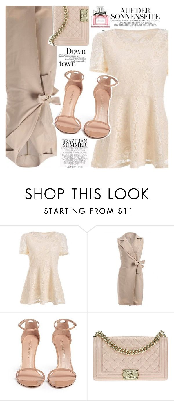 """Powder Colors"" by vanjazivadinovic ❤ liked on Polyvore featuring Stuart Weitzman, Chanel, Christian Dior, polyvoreeditorial and twinkledeals"