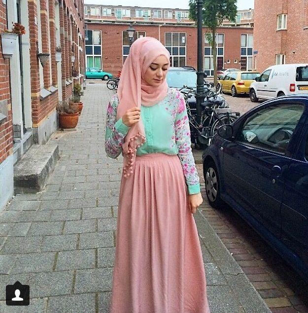 Floral long sleeve shirt ⭐ pink long skirt ⭐ summer hijab outfit