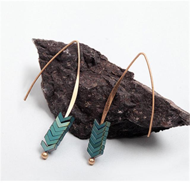 Bohemian Natural Stone Geometric Arrow Earrings Drop Earrings