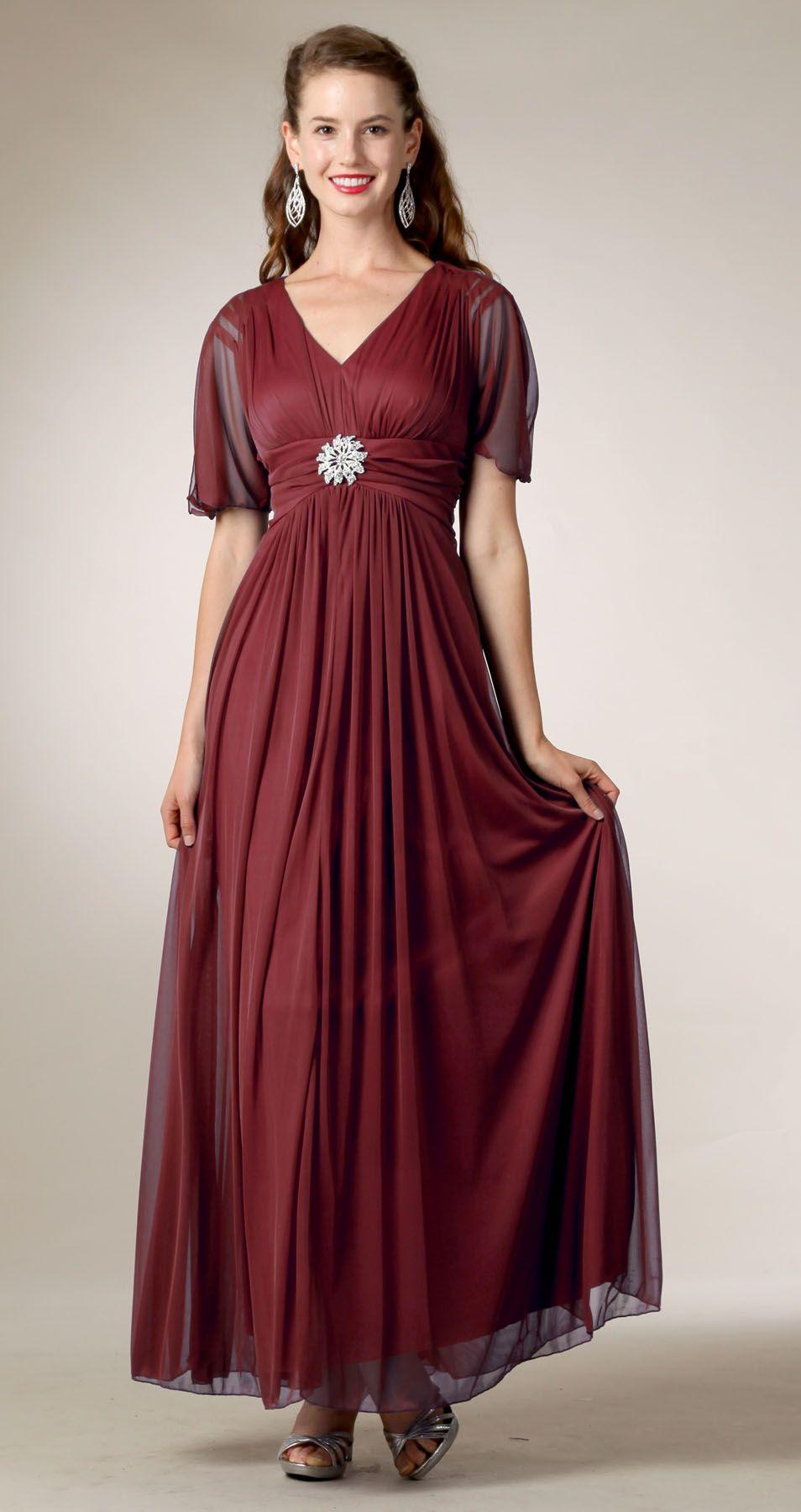 Modest Burgundy Gown Flowy Tea Length Empire V Neck Short