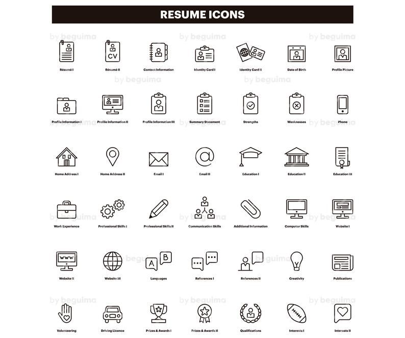 Resume Icons Cv Clip Art Curriculum Vitae Clipart Set Of Icons Line Linear Black Outline Minimalist Vector File Eps Jpg Png Digital Download Resume Icons Clip Art Curriculum
