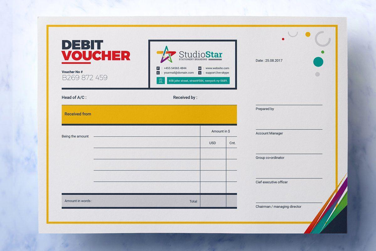 Debit And Credit Cash Voucher Voucher Design Design Template Corporate Brochure Design