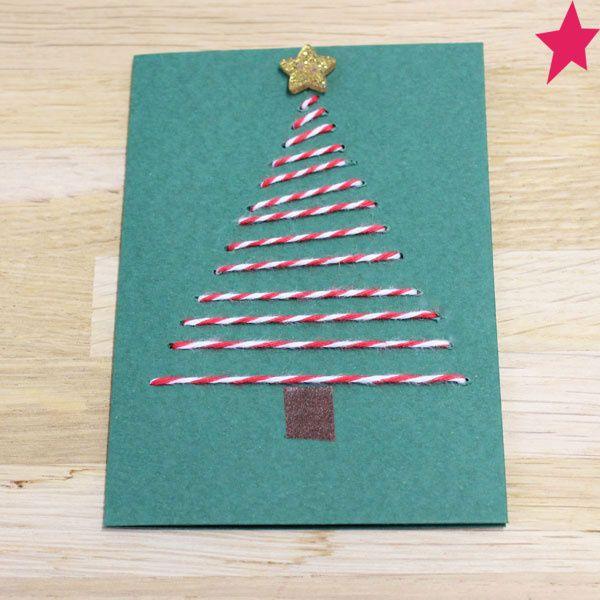 Carte Creative Sapin De Noel Fil Baker Twine Rouge Blanc Carte