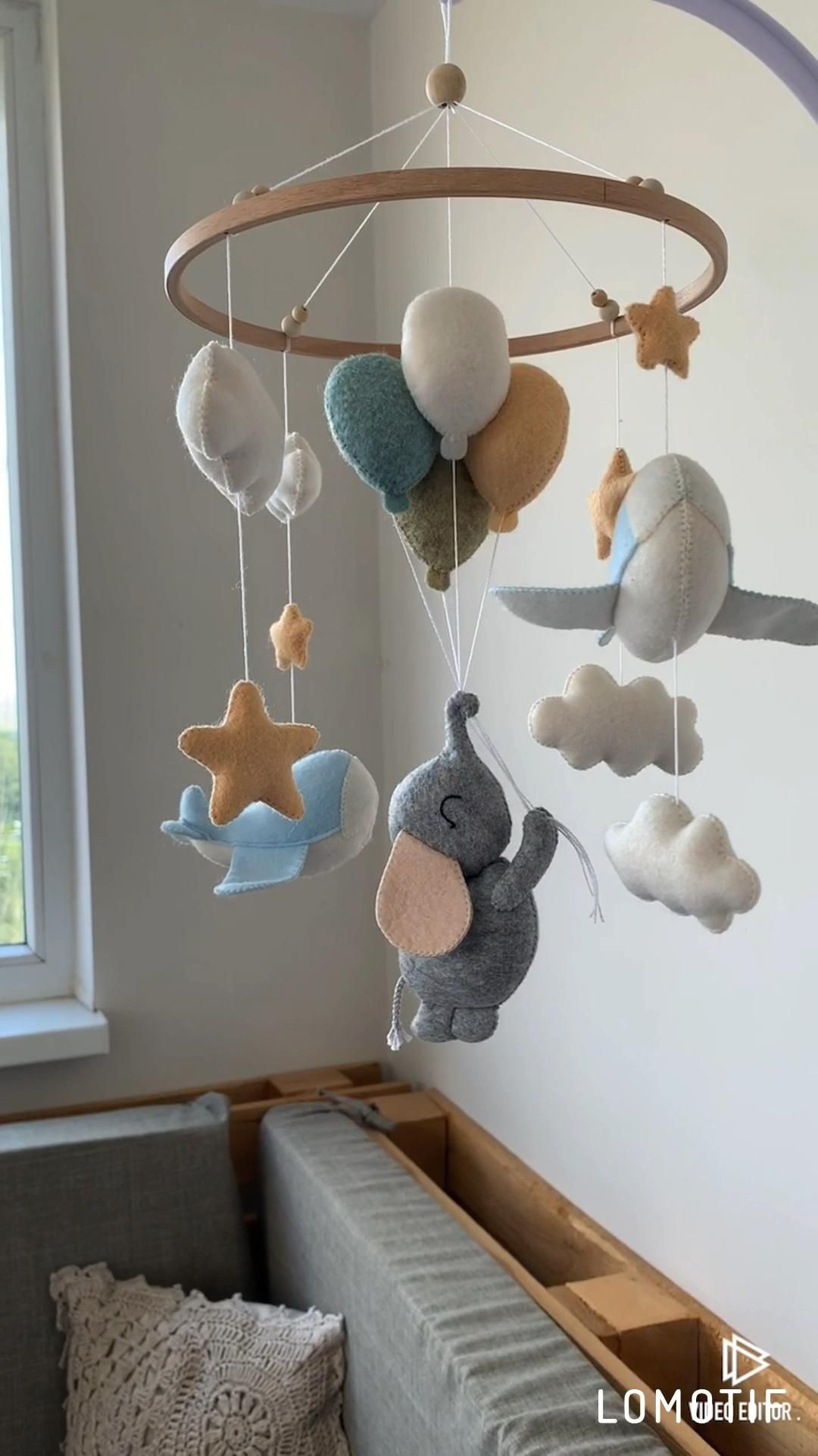 Elephant baby mobile newborn nursery decor felt boy girl | Etsy