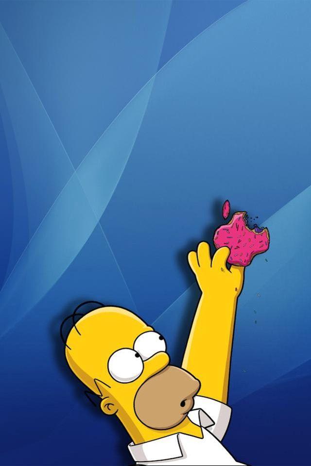 Homer Reaching For Donut Blue Bsckgrounf Simpson Wallpaper Iphone Cartoon Wallpaper Hd Cartoon Wallpaper