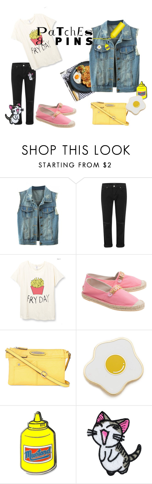 """Patches and Pins - Fry Day"" by thaliatria ❤ liked on Polyvore featuring WithChic, J Brand, Moschino, Rosetti, Georgia Perry, PINTRILL and patchesandpins"