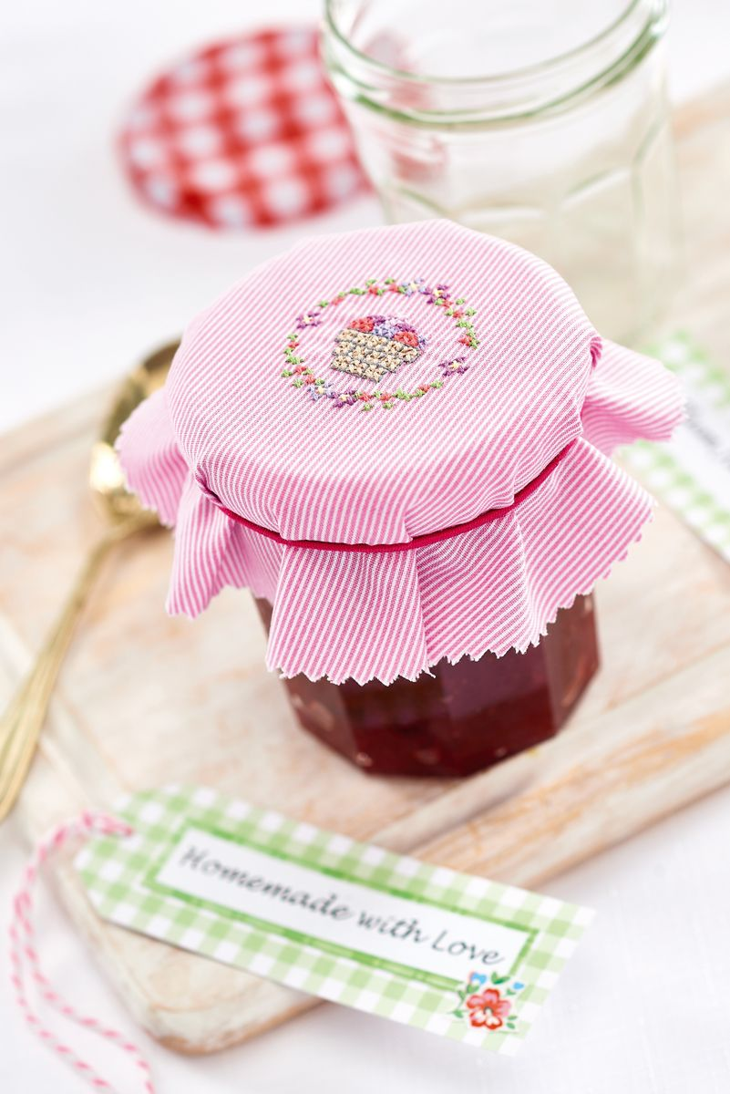 Stitch a jam jar cover in the January issue of Crafts Beautiful, on ...