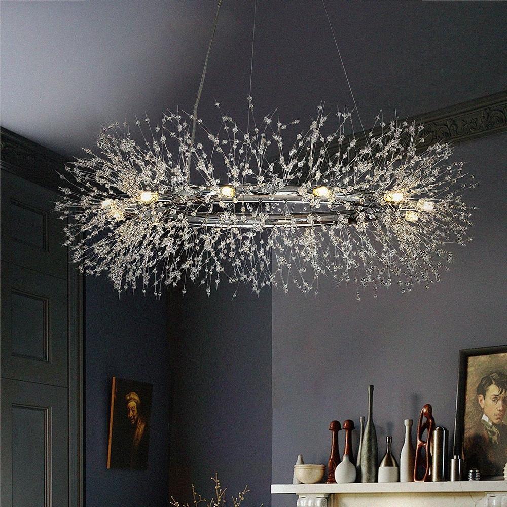 Interior Decor 25 light Stainless Steel Crystal Firework ...