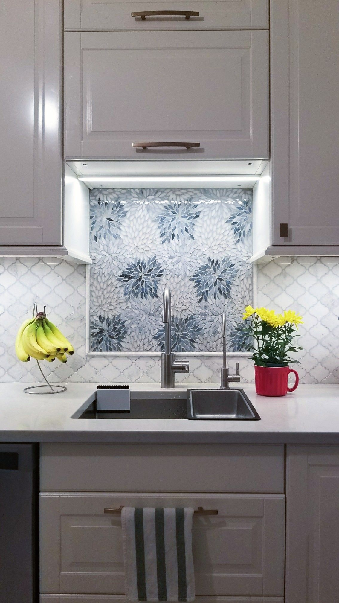 Backsplash Behind Sink Estrella Grey Blend Artistic Tile Backsplash Accent Over Sink In