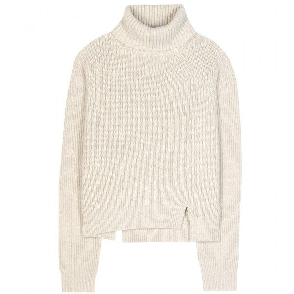 Proenza Schouler Wool and Cashmere-Blend Turtleneck Sweater (€725) ❤ liked on Polyvore featuring tops, sweaters, jumpers, shirts, beige, beige sweater, white turtleneck shirt, turtle neck sweater, white turtleneck and white shirt