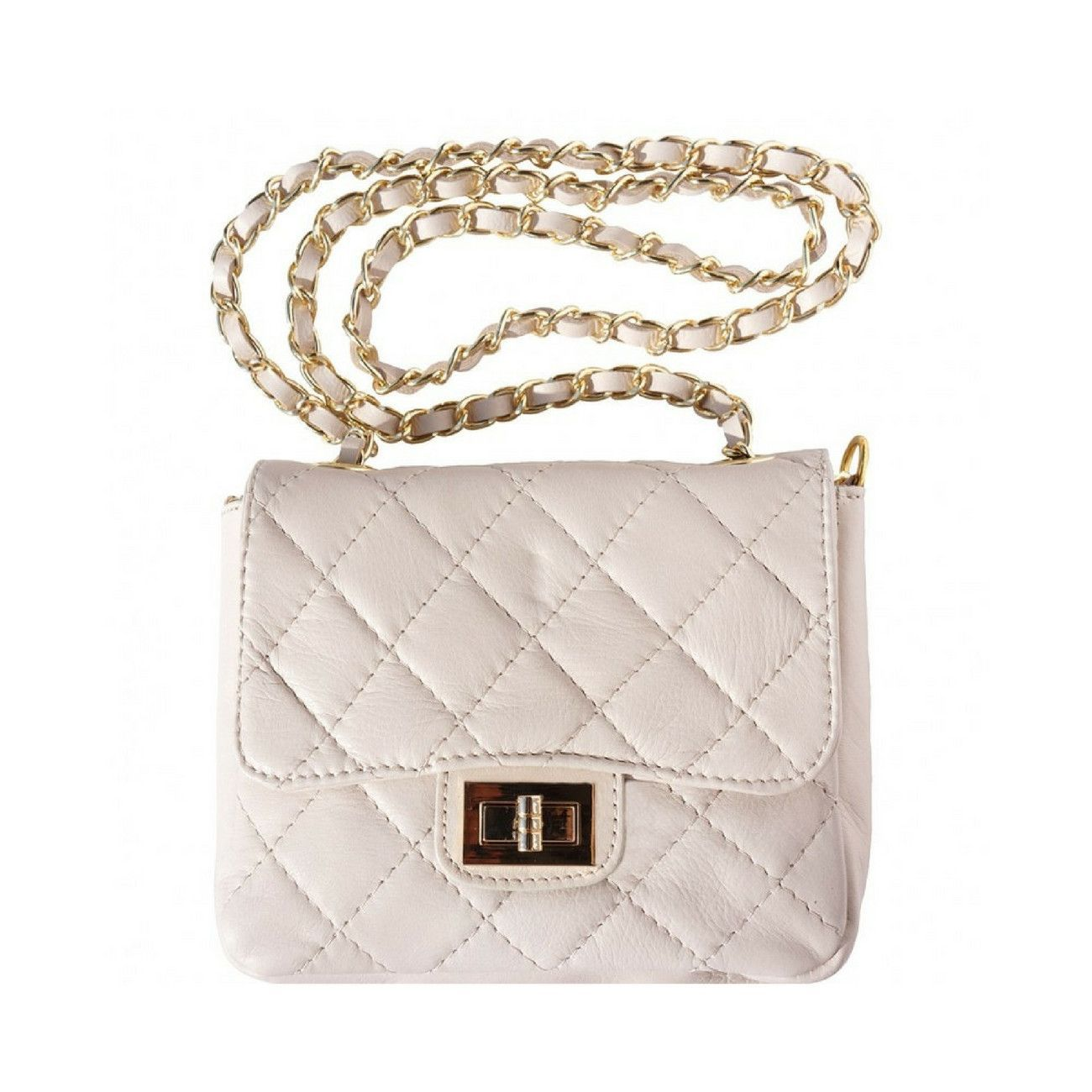 Italian Quilted Leather Single Chain Handle Shoulder Bag, Beige