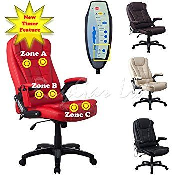 raygar red luxury faux leather high back reclining recliner office