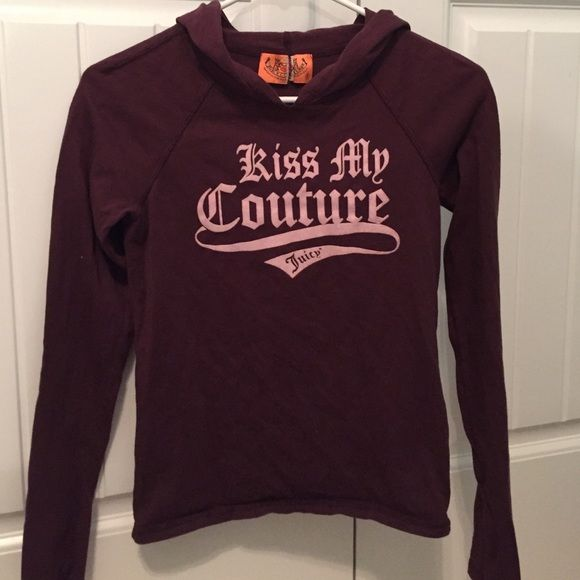 Hooded Juicy Long sleeve Soft long sleeve that's hooded by Juicy, size small, only thing messed up is the tag but other than that good condition Juicy Couture Tops Sweatshirts & Hoodies
