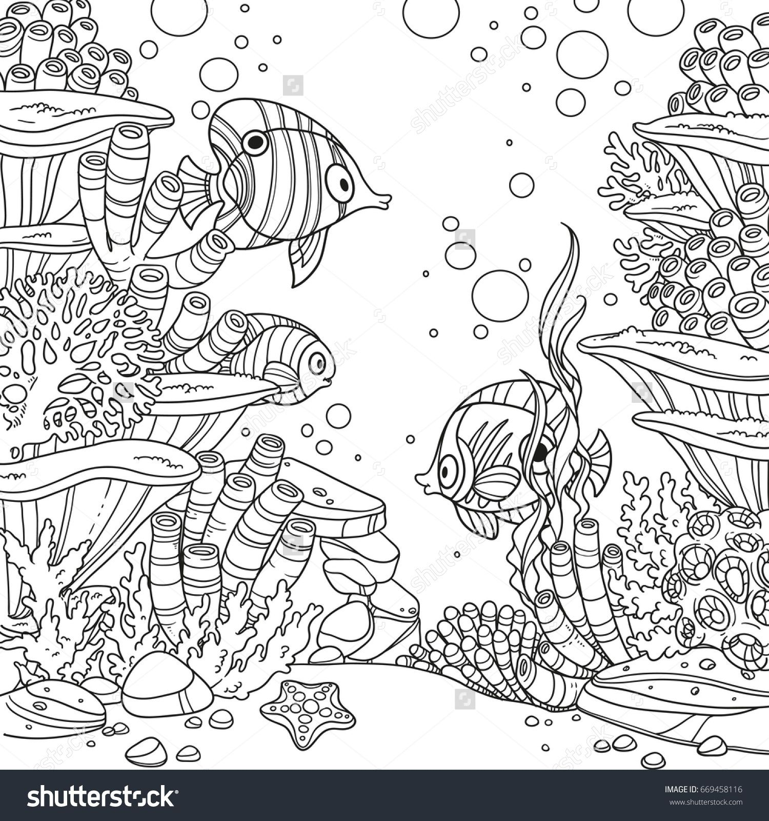 Underwater World With Corals Fish And Anemones Outlined Isolated