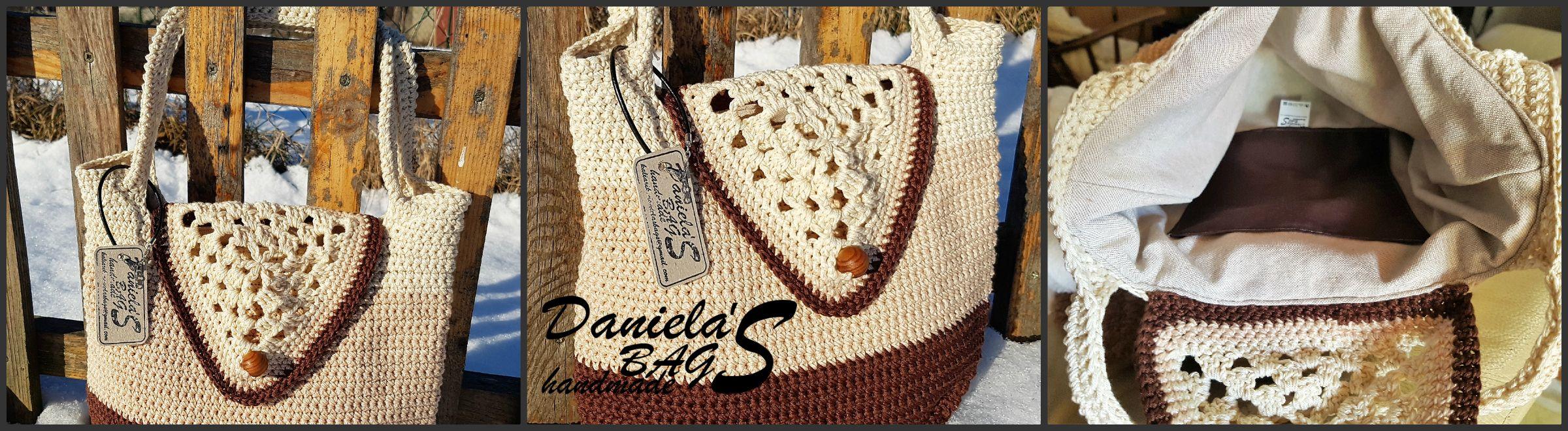 Háčkovaná taška cez plece.  Použitá kvalitná bavlnená priadza. Rozmer: cca šírka 33cm, výška 29 cm