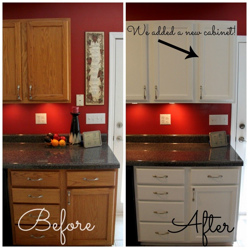 How to paint cabinets dark countertops red kitchen and for Spraying kitchen cabinets white