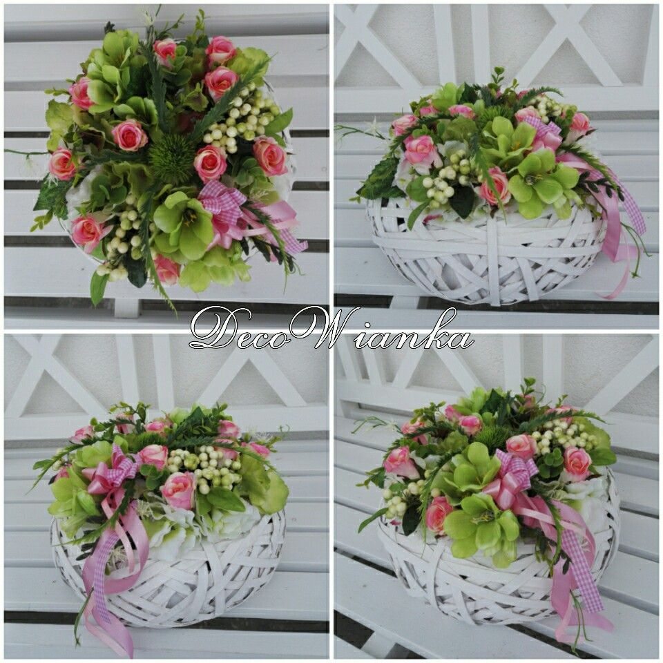 Kompozycja Kwiatowa Stroik Dekoracja Sztuczne Kwiaty Kompozycja Wiosenna Stroik Wiosenny Glass Vase Decor Home Decor