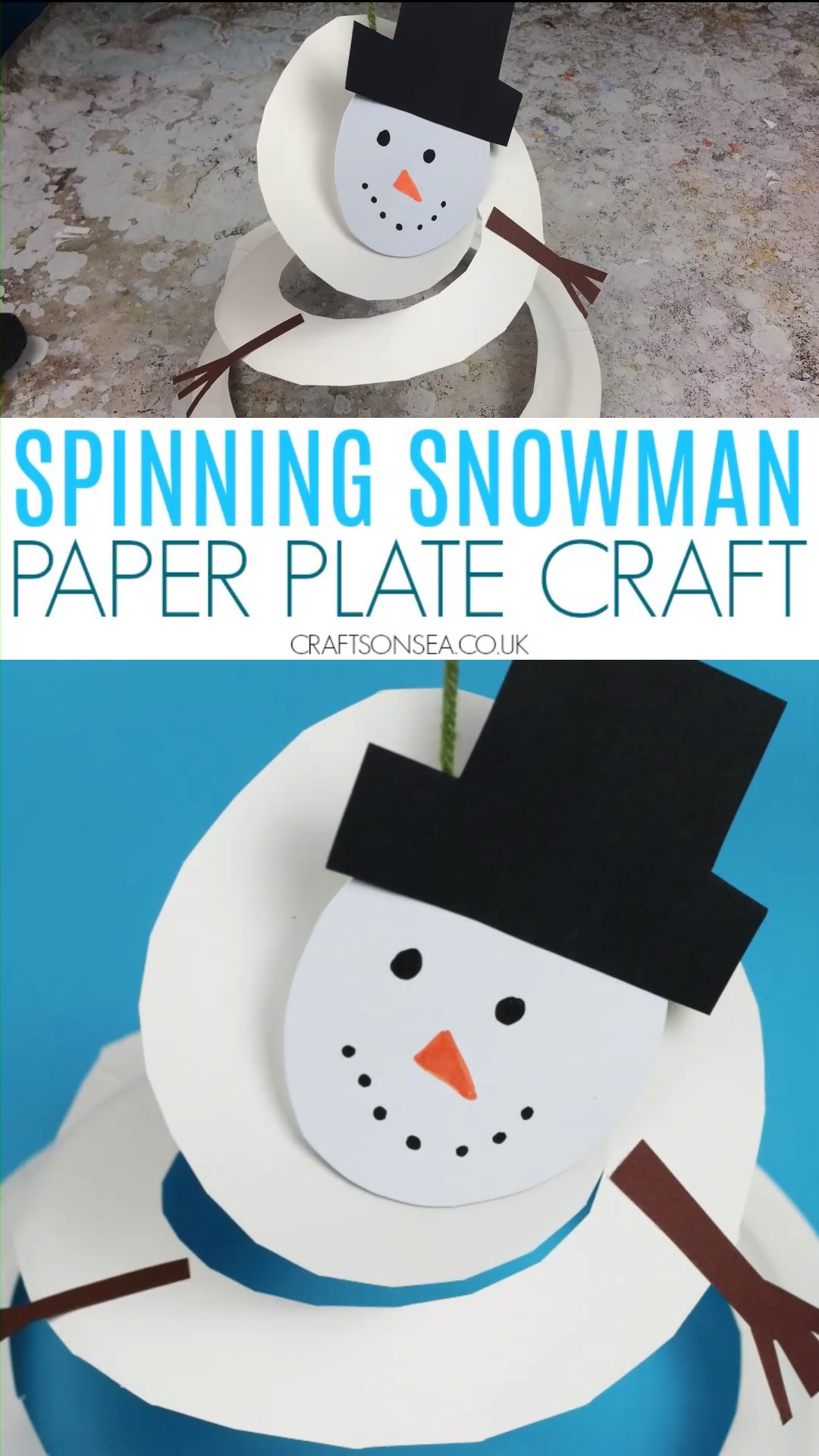 Make a fun paper plate snowman that spins and find out about Asthma UK's Letters To Santa campaign. A cute and easy Christmas craft for kids! #kidscrafts #christmascrafts #wintercrafts #christmascraftsforkids