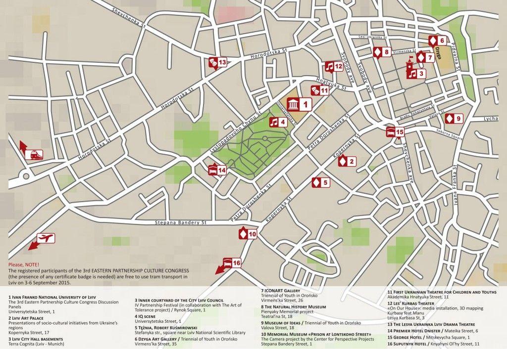 Мапа заходів в рамках Конгресу культури східного партнерства у Львові
